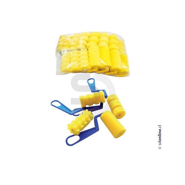 Rodillo Esponja Con Diseños Texturas Set 16Und