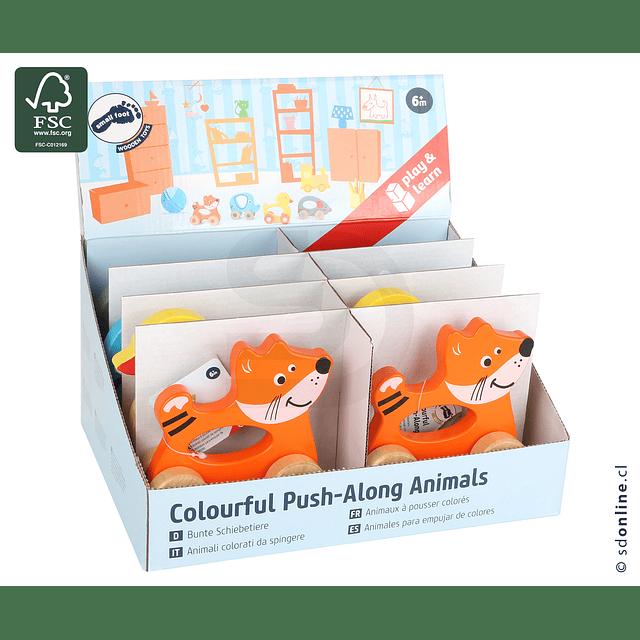 Set 4 Animales De Colores Para Empujar