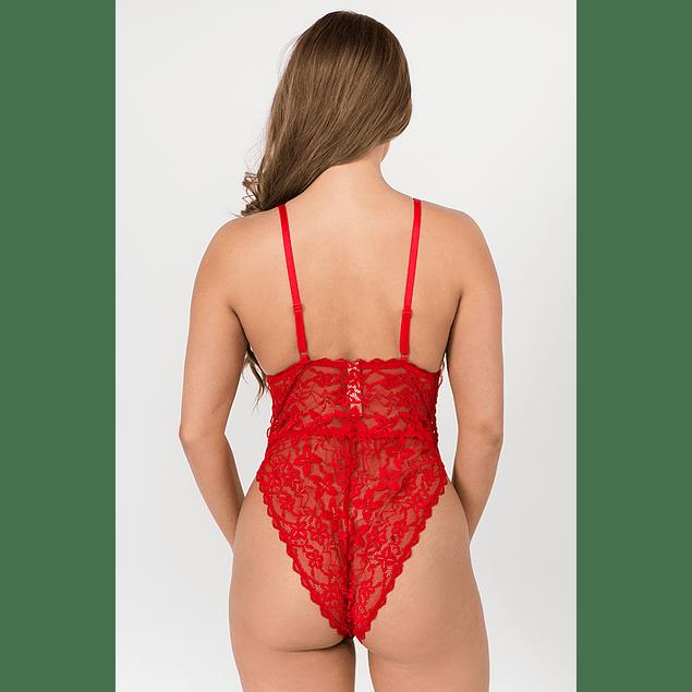 Body de Encaje en Color Negro - Rojo