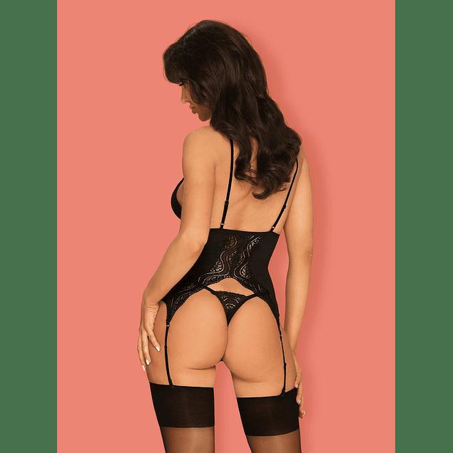 Corset y Calzón Negro Diyosa Obsessive