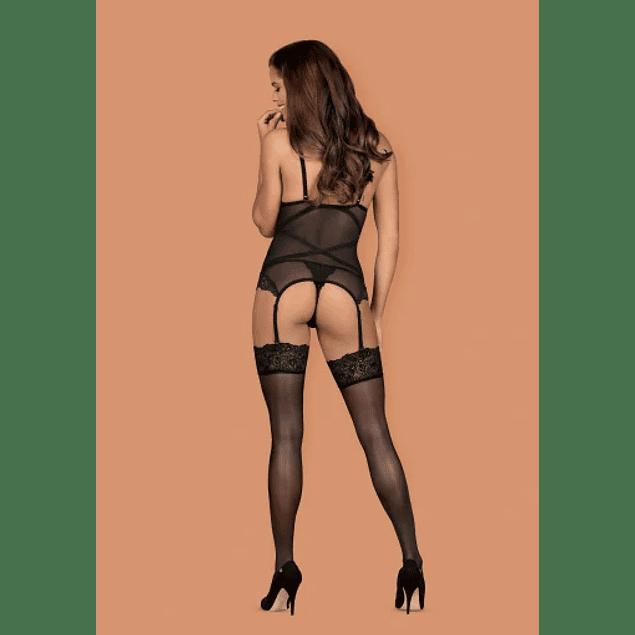 Corset y Calzón Bondea Negro Obsessive