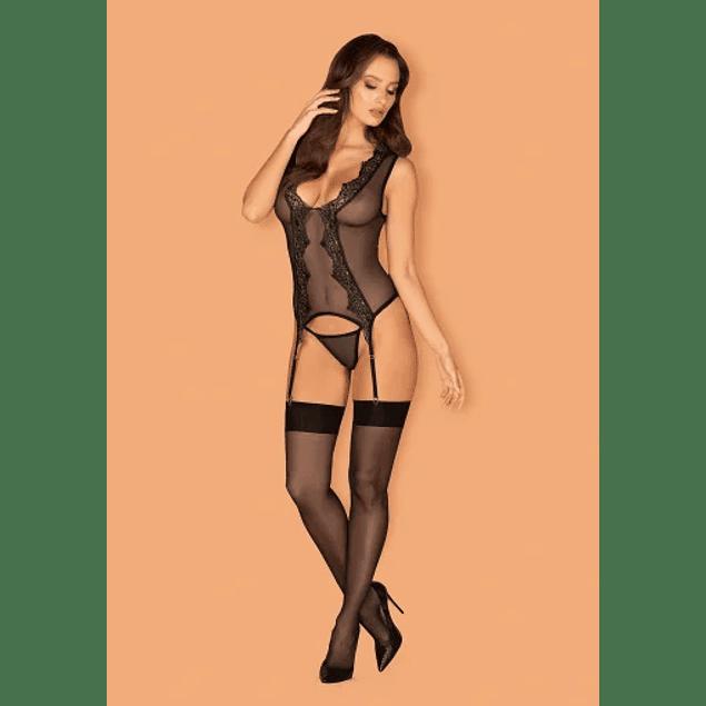 Corset y Calzón Negro Meshlove Obsessive