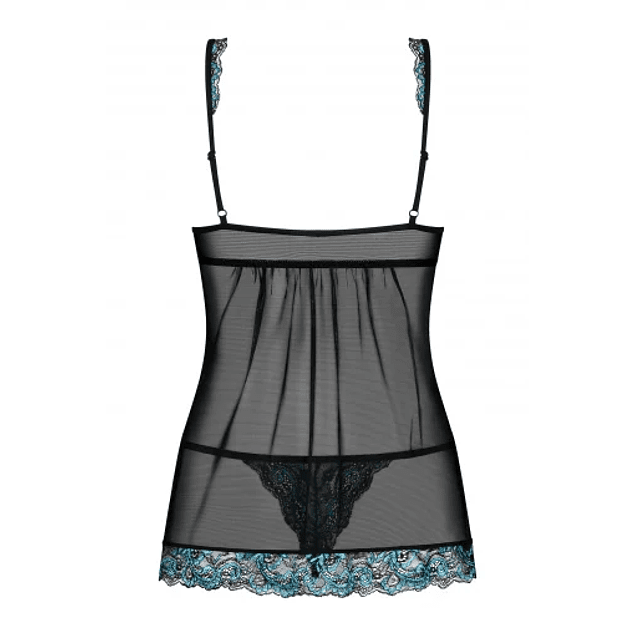 Babydoll y Calzón  Amanta Negro / Turquesa Obsessive
