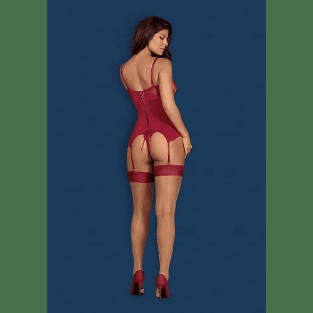Corset y Calzón Rojo Rosalyne Obsessive