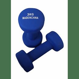 MANCUERNA. 6 KG PAR 3 KG C/U METAL/NEOPREN AZUL