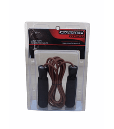CUERDA DE SALTO CUERO NATURAL C/ RODAMIENTO COVERTEC, AJUSTABLE