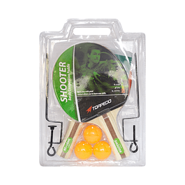 SET TORPEDO SHOOTER BLISTER PALETAS + PELOTAS + RED