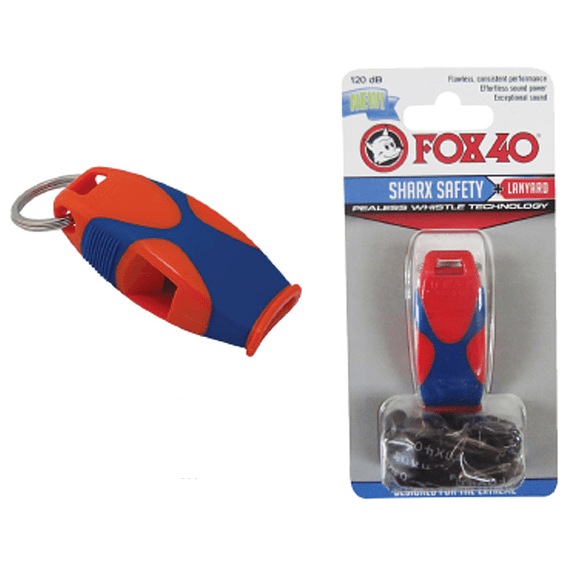SILBATO FOX40 SHARX SAFETY CON CORDON ROJO-AZUL