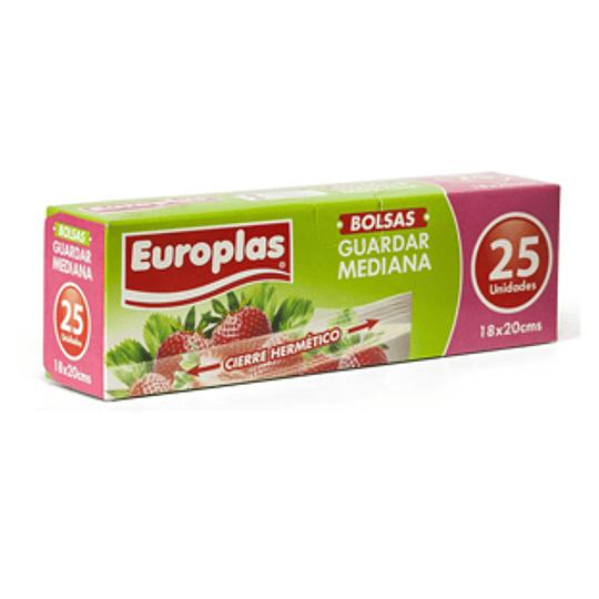Bolsas Cierre Hermetico Mediana (18X20 Cm) 25 Unid Europlas