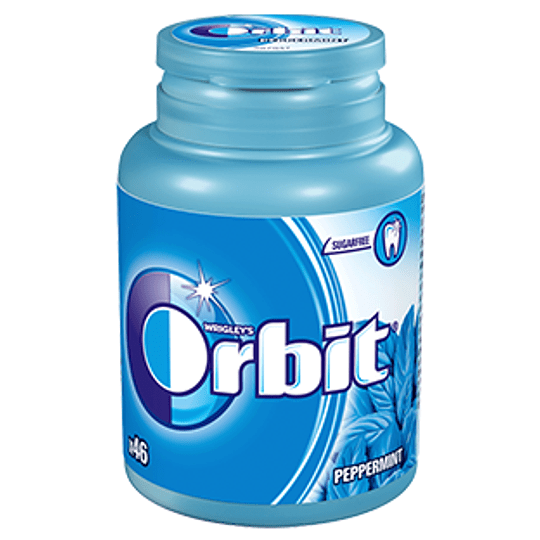 Chicle Sin Azucar Sabor Menta Frasco 64 Gr Orbit