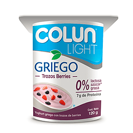 Yoghurt Griego Light Con Berries Pack 4 X 120 Gr Colun