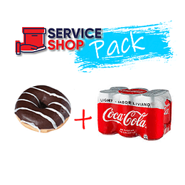 Pack Coca Cola Light 6X220 Ml + Donut Relleno Chocolate 134 Gr Breden Master