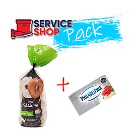 Pack Pan Bagel Sesamo 650 Gr Bagels&Co + Queso Crema 210 Gr Philadelphia
