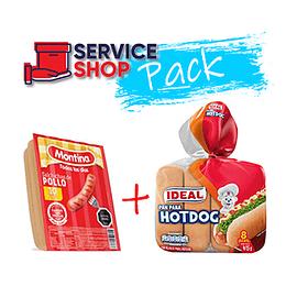 Pack Pan Hot Dog 415 Gr Ideal + Salchichas de Pollo 500 Gr Montina