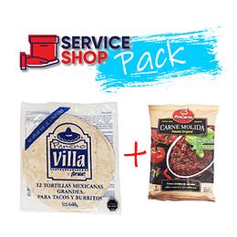 Pack Tortilla Burrito de 12 Unidades + Carne Molida Tártaro 250 Gr ProCarne