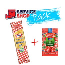 Pack Fideos Tallarin 400 Gr Carozzi + Salsa Tomate Italiana 200 Gr Lucchetti