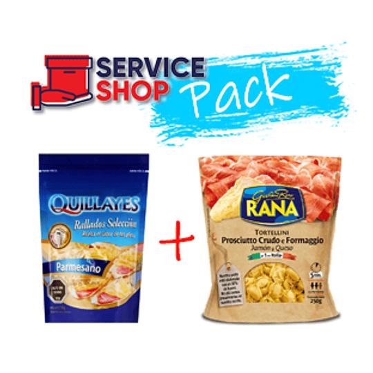 Pack Tortellini Jamon Queso 250 Gr Rana + Queso Parmesano Rallado 100 Gr Quillayes