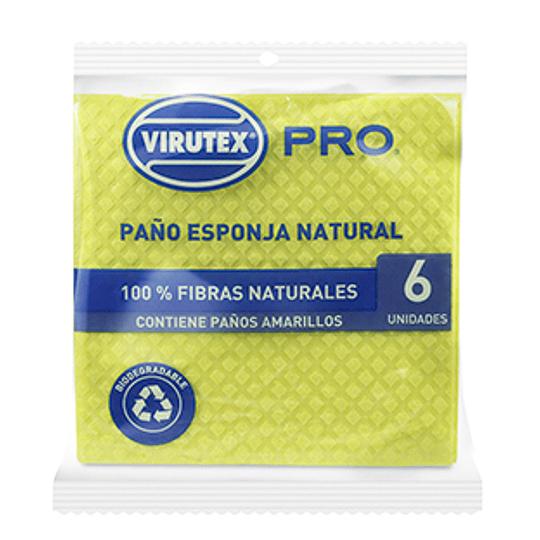 Paño Esponja Absorbente Amarillo 6 Unidades Virutex Pro