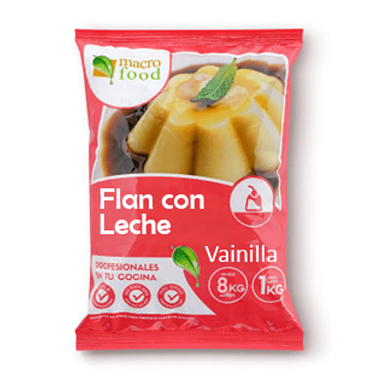 Flan con Leche Vainilla 1 Kg Macrofood