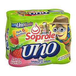 Uno al Dia Frutilla Pack 6 Unidades 80 Ml Soprole