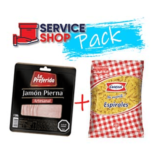 Pack Fideos Espirales 400 Grs Carozzi + Jamon Pierna Lam. 200 Gr La Preferida