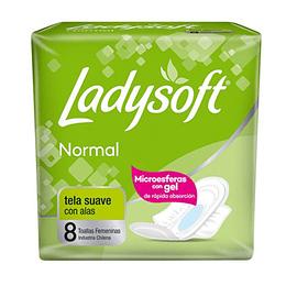 Toalla Femenina Normal C/Alas 8 Und. Ladysoft
