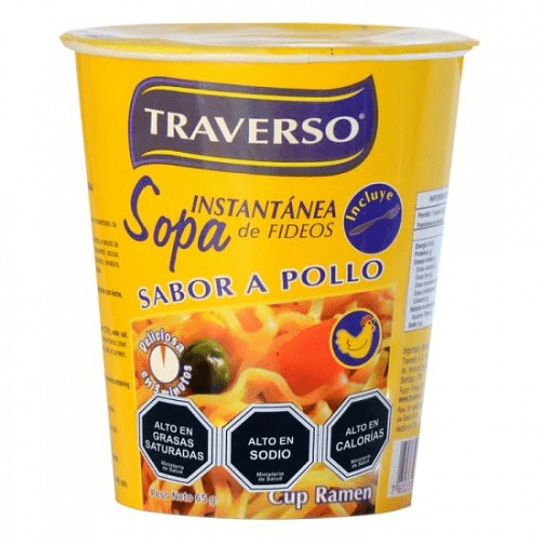 Sopa Instantanea con Fideos Sabor Pollo  65 Gr Traverso