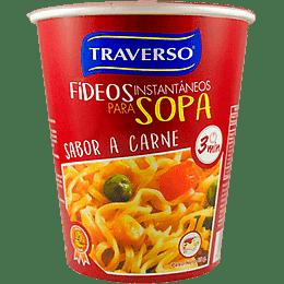 Sopa Instantanea con Fideos Sabor Carne  65 Gr Traverso