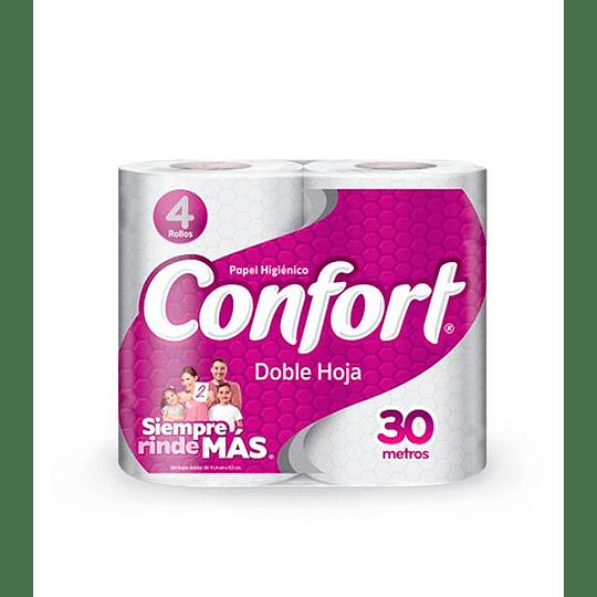 Papel Higienico 4 Rollos 30 Metros Confort