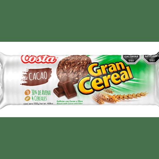 Galleta Gran Cereal Fibra Cacao Unidad 135 Gr Costa