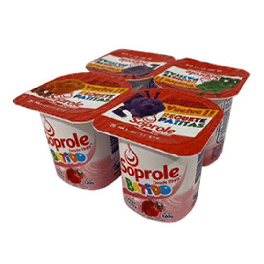 Yoghurt Batido Frutilla Pack 4 Unidades 120 Gr Soprole