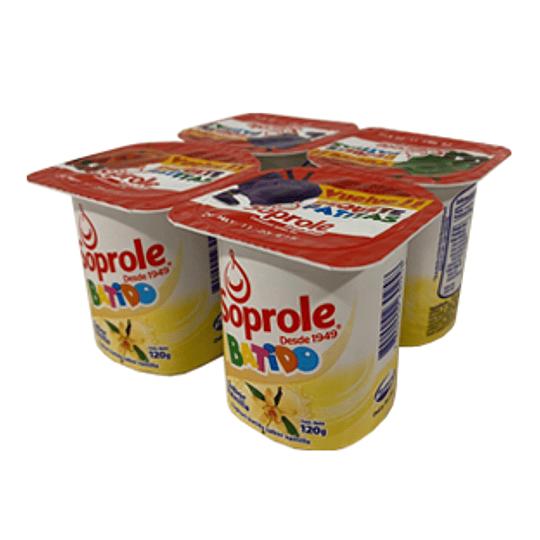 Yoghurt Batido Vainilla Pack 4 Unidades 120 Gr Soprole