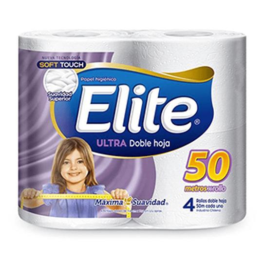 Papel Higienico Doble Hoja Ultra 4 Rollos de 50 Metros Elite