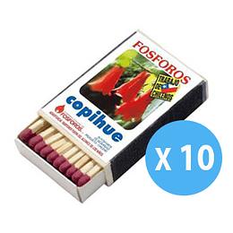 Fosforos Pack 10 Cajitas 40 Palitos Copihue
