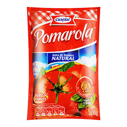 Salsa de Tomate Natural Pomarola 200 Gr Carozzi