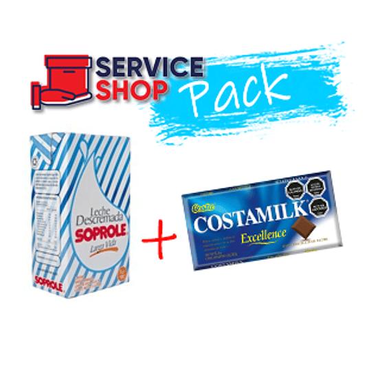 Pack Leche Descremada Soprole 1Lt + Chocolate Costamilk 145gr Costa