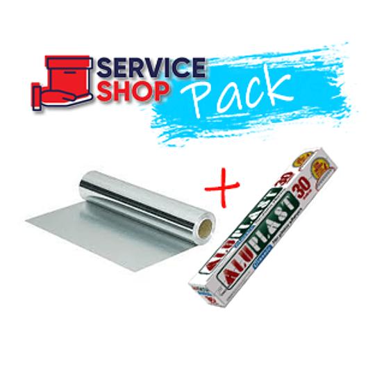 Pack Rollo de Film Plástico 30mtr + Rollo Papel Aluminio 100ml