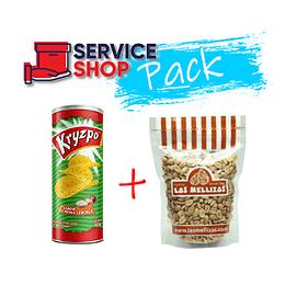 Pack Papas Fritas Sabor Cebolla 130gr Kryzpo + Mani Salado 1Kg