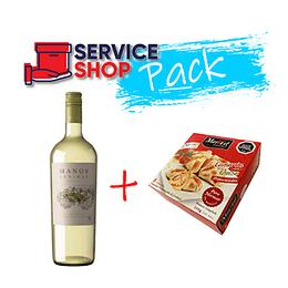 Pack Vino Blanco Sauvignon Blanc Reserva 750 Ml Manos Andinas + Empanadas Camarón Queso 8 und