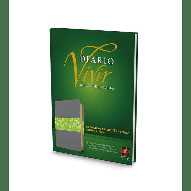 Biblia NTV de estudio del diario vivir- Gris con verde floreado