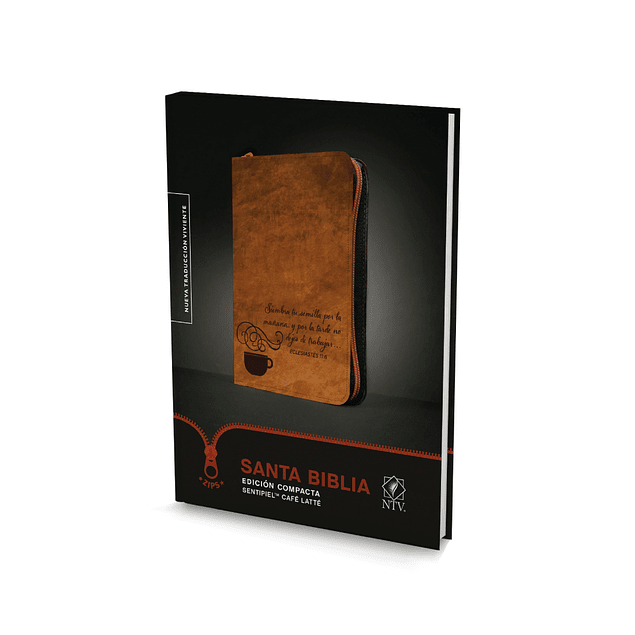 25% Dcto - Biblia NTV Edición Compacta Sentipiel Café Latte con Cierre