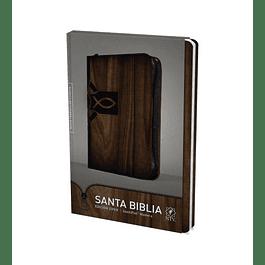 40% DCTO - Biblia NTV Edicion Ziper Cafe Madera Cierre Negro