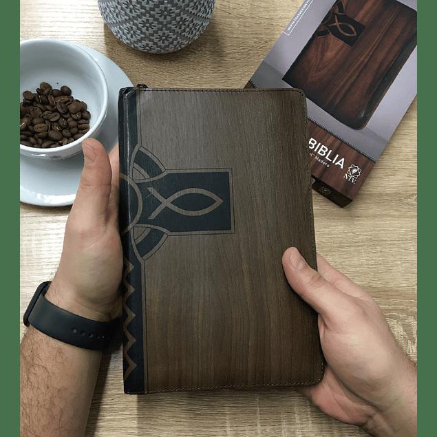 25% Dcto - Biblia NTV Edicion Ziper Cafe Madera Cierre Negro