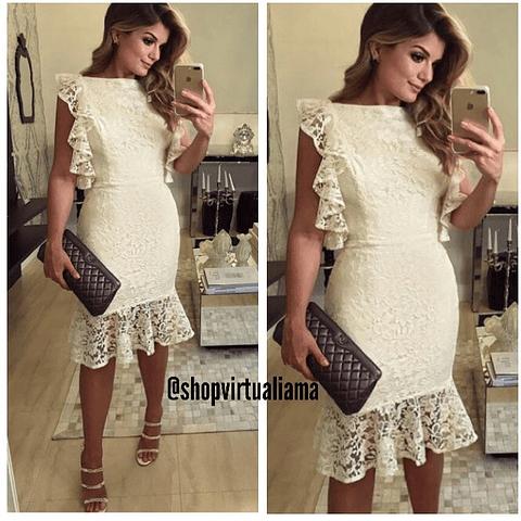 Vestido Blonda Arandelas - Ref. VESARE
