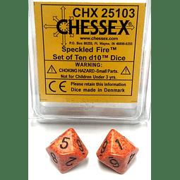 Set De Dados TEN D10 CHESSEX CHX 25103 FIRE