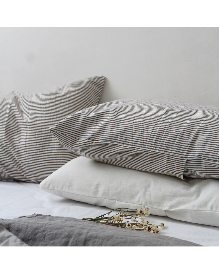 Mink Striped Pillowcase Set