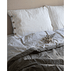 Set of Pillow Cases with Buttonhole and White Button