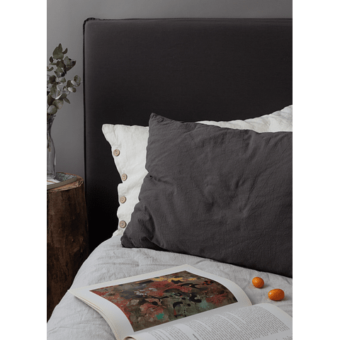 Bed Backrest with Removable Tussor Gray Graphite Cover