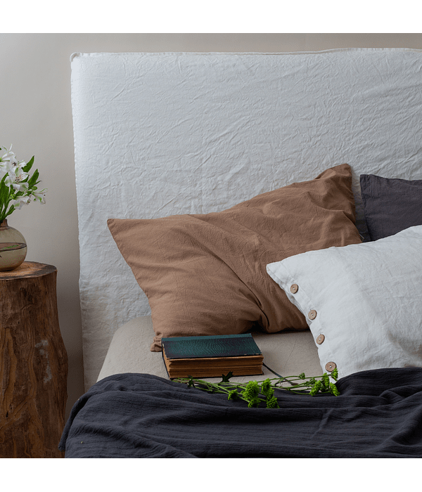 Funda para Respaldo de Cama de Lino Washed Off White