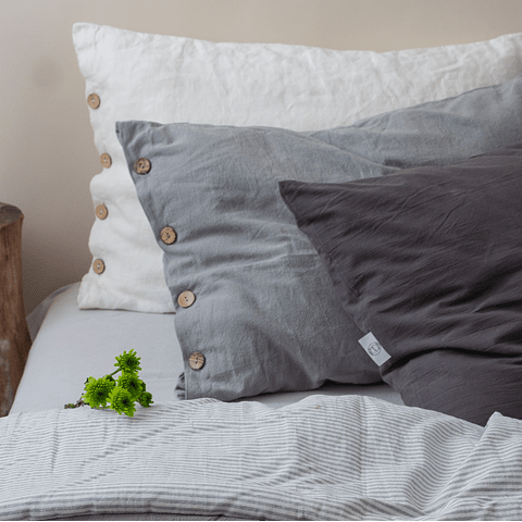 Pillow Case with Buttonhole and Stone Gray Button